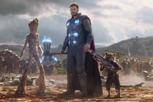Thor, Rocket and Groot arrive at the Battle of Wakanda in Avengers: Infinity War.