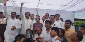 RLD leader Jayant Chaudhary at a public meeting in Gangoh assembly constituency on Monday.