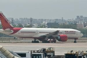 An Air India plane is seen parked on the tarmac at the Indira Gandhi International Airport in New Delhi.