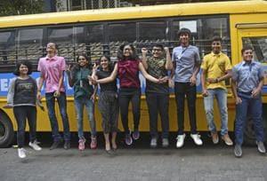 Students of Lilavatibai Podar school in Santacruz, including all-India topper Priya Khajanchi (5th from left) and Abhijnan Chakraborty (next to her), celebrate their success.
