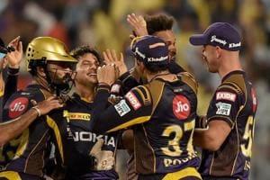 Kolkata Knight Riders bowler Kuldeep Yadav celebrates with teammates after the dismissal of Rajasthan Royals