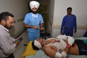 An injured at the hospital in Jalandhar on Tuesday.