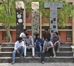 Members of Bahujan Azad Party at IIT  Delhi campus.