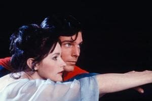 Actor Christopher Reeve, as Superman, and Margot Kidder, as Lois Lane, appear in a scene from the 1978 movie Superman.