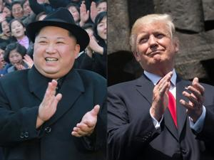 Combination of pictures of North Korean leader Kim Jong Un and US President Donald Trump.