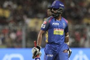 Ajinkya Rahane's Rajasthan Royals suffered a six-wicket loss to Kolkata Knight Riders which has dented their play-off hopes.