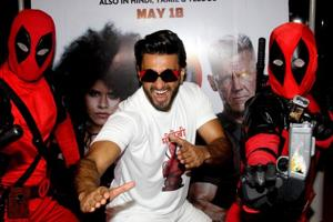 Ranveer Singh poses during the promotion of the Hindi version of the Hollywood film Deadpool 2 in Mumbai on Monday.