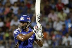 Kieron Pollard of theplays a shot during match fifty of the  Indian Premier League 2018 (IPL 2018) between the Mumbai Indians and the Kings XI Punjab.