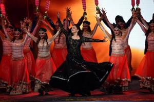 Madhuri Dixit performs during T20 Mumbai Cricket League Opening Ceremony on March 10, 2018.