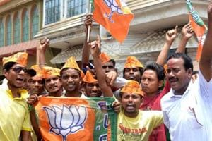 BJP workers  in Jhargram celebrating victory on  Thursday.