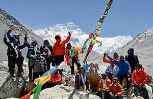 The students at the base camp before beginning their ascend
