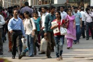 Commuters at Andheri Station in Mumbai.