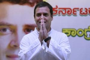 "Congress president Rahul Gandhi said the BJP's irrational insistence"" that it will form a government in Karnataka despite the numbers was ""a mockery of our Constitution""."