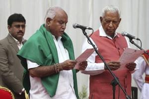 BS Yeddyurappa oath ceremony was administered by the Karnataka governor Vajubhai Vala in Raj Bhavan in Bengaluru on Thursday.
