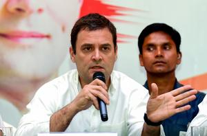 Congress president Rahul Gandhi speaks during a press conference in Bengaluru.