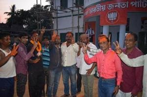 BJP workers celebrating in Jhargram after the panchayat results on Thursday.