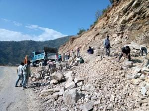 Work on the Chardham all-weather road project in progress.