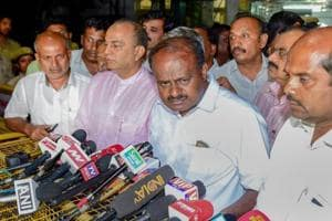 JD(S) leader H D Kumaraswamy speaks to media after meeting with governor Vajubhai Vala in Bengaluru on Saturday.