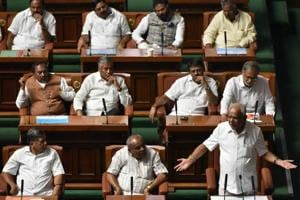 BS Yeddyurappa addressing the Karnataka assembly before resigning as the chief minister on Saturday.