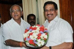 Karnataka Chief Minister B S Yeddyurappa (left) is greeted by pro-tem speaker KG Bopaiah in Bengaluru on Thursday.