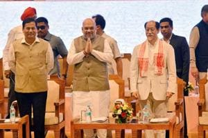 BJP president Amit Shah with chief ministers Sarbananda Sonowal of Assam, Neiphiu Rio of Nagaland and N Biren Singh of Manipur at the 3rd conclave of North East Democratic Alliance (NEDA) meeting in Guwahati on May 20.