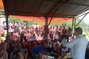A meeting of Congress workers in Tharali, where bypoll was necessitated following death of MLAMagan Lal Shah.