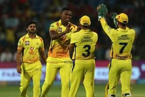 Lungi Ngidi celebrates the wicket of Chris Gayle during match fifty six of the 2018 Indian Premier League between Chennai Super Kings and Kings XI Punjab at the Maharashtra Cricket Association Cricket Stadium, Pune. Get full cricket score of Chennai Super Kings vs Kings XI Punjab, IPL 2018, MCA stadium here