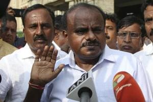 Janata Dal (Secular) leader HD Kumaraswamy speaks to journalists after BS Yeddyurappa announced his resignation in Bengaluru.