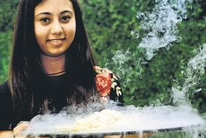 Simran Bindra with one of her iconic desserts.