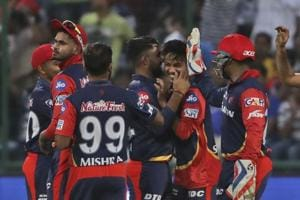 Sandeep Lamichhane celebrates the wicket of Evin Lewis during match fifty five of the 2018 Indian Premier League (IPL) between Delhi Daredevils and Mumbai Indians held at the Feroz Shah Kotla. Follow highlights of Delhi Daredevils vs Mumbai Indians, IPL 2018 match here