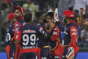 Delhi Daredevils celebrate their 11-run victory over Mumbai Indians in the penultimate game of the league phase of IPL 2018 at the Ferozeshah Kotla in New Delhi on Sunday.