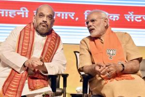 Prime Minister of India Narendra Modi with BJP National President Amit Shah during the concluding session of the National Executive Committee meeting of the party