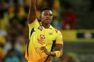 Lungi Ngidi celebrates the wicket of R Ashwin during match fifty six of the 2018 Indian Premier League between Chennai Super Kings and Kings XI Punjab at the Maharashtra Cricket Association Stadium, Pune on Sunday.