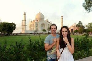 AB de Villiers with wife Danielle de Villiers at the Taj Mahal.