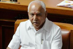 BS Yediyurappa sits in his chair before addressing the Karnataka State Legislative Assembly and resigning from chief ministerial post at Vidhana Soudha in Bangalore on May 19, 2018.