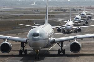 Flights lined in queue for takeoff at Chhatrapati Shivaji International Airport, Mumbai.