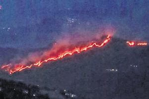 A view of the raging forest fire in Garhwal circle. The fire is reported to have reached very close to several villages giving locals restless nights and forcing them to keep vigil over the advancing fire.
