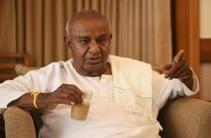 Former prime minister H D Deve Gowda, national president of Janta Dal (Secular). Gowda was fated to be prime minister, but only for a short time
