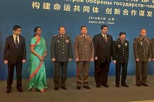 Defence minister Nirmala Sitharaman with her counterparts from other member states at the Shanghai Cooperation Organisation