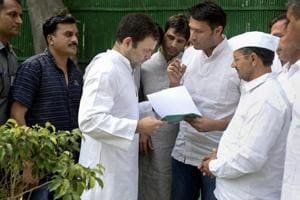 Congress president Rahul Gandhi meets party workers at the AICC headquarters, in New Delhi. Gandhi will launch his party's campaign for the Madhya Pradesh assembly election from Mandsaur on June 6.
