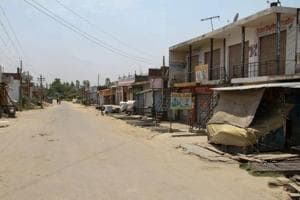 A border village wears a deserted look due to evacuation of residents after heavy shelling from Pakistan side, at Arnia, about 40 km from Jammu, on Monday.