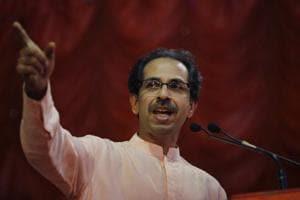 Shiv Sena President Uddhav Thackeray addresses a rally at Worli, Mumbai.