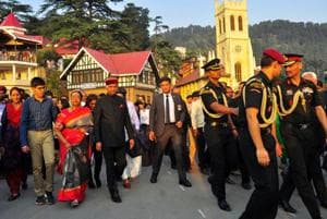 President Ram Nath Kovind along with his family members takes a stroll on The Ridge in Shimla on Tuesday