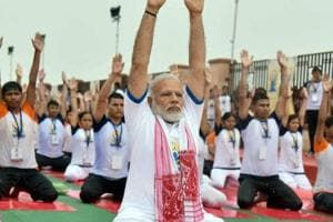 Prime Minister Narendra Modi performing yoga on 3rd International Yoga Day in Lucknow on June 21, 2017. The PM accepted the 'fitness challenge' from cricketer Virat Kohli  prompting opposition parities to challenge him on other issues.
