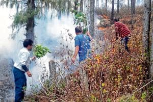 People try to extinguish a forest fire in Pauri district.
