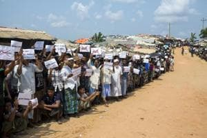 Rohingya refugees await the arrival of a UN Security Council team at the Kutupalong Rohingya refugee camp in Kutupalong, Bangladesh, last month. West Bengal has provided shelter to many such families despite opposition from the central government .
