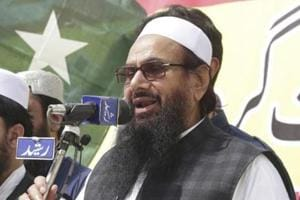 Hafiz Saeed, head of the Pakistan-based Jamaat-ud-Dawa addresses a rally to express solidarity with Indian Kashmiris, in Lahore, Pakistan, in April 2018.