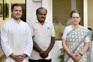 JD(S) leader and Karnataka chief minister-designate H D Kumaraswamy with Congress President Rahul Gandhi and former Congress president Sonia Gandhi during a meeting in New Delhi, May 21