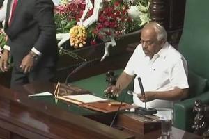 Congress leader KRRamesh was elected the Karnataka Speaker, in Bengaluru on Friday.