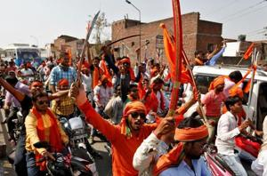Hindu Yuva Vahini members take part in a rally in UP's Unnao in April  2017. The outfit froze its membership drive and dissolved the district units after receiving reports that office bearers were involved in unlawful activities.
